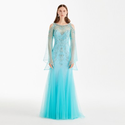Lake Blue Tulle Beaded Long Lace Sleeve Women Evening Dress