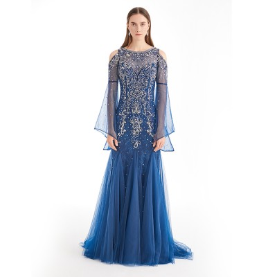 Dark Blue Peral Ornament Tulle Beaded Long Lace Sleeve Women Wedding Dress