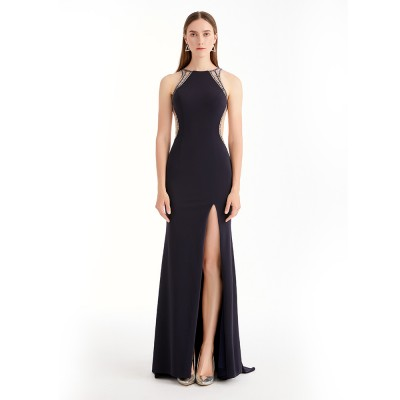 BLACK SIDE SLIT ELEGANT MAXI DRESS