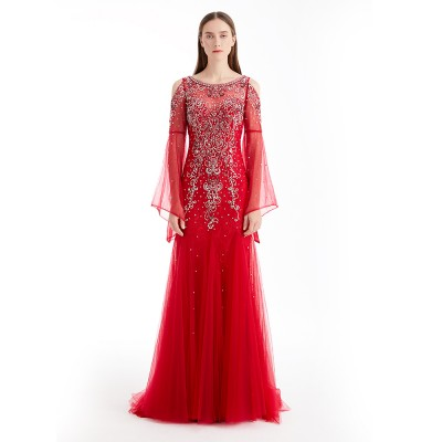Red Peral Ornament Tulle Beaded Long Lace Sleeve Women Dress